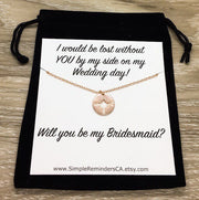 Will You Be My Bridesmaid, Compass Necklace, Lost Without You Gift, Maid of Honor Necklace, Bridal Party Gift, Wedding Gift, Bridal Shower