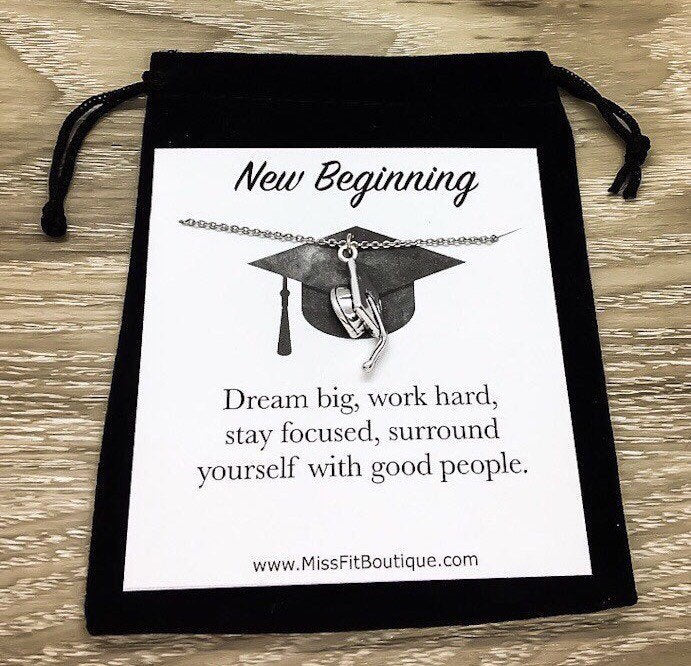 New Beginning Card, Class of 2019 Graduation Hat Necklace, Think Big Dream Bigger, Graduate Gift, College Grad Gift, Grad Jewelry for Her