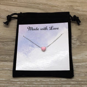 Daughter Necklace with Card, Tiny Heart Pendant, Gift for Bride from Mother of the Bride, Heart-Shaped Jewelry, Stepdaughter Gift