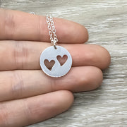 Grandma Necklace, Grandmother of 2 Gift, Two Heart Necklace, Gift for Nana, Gift from Grandchildren, Pregnancy Annoucement, Mothers Day Gift