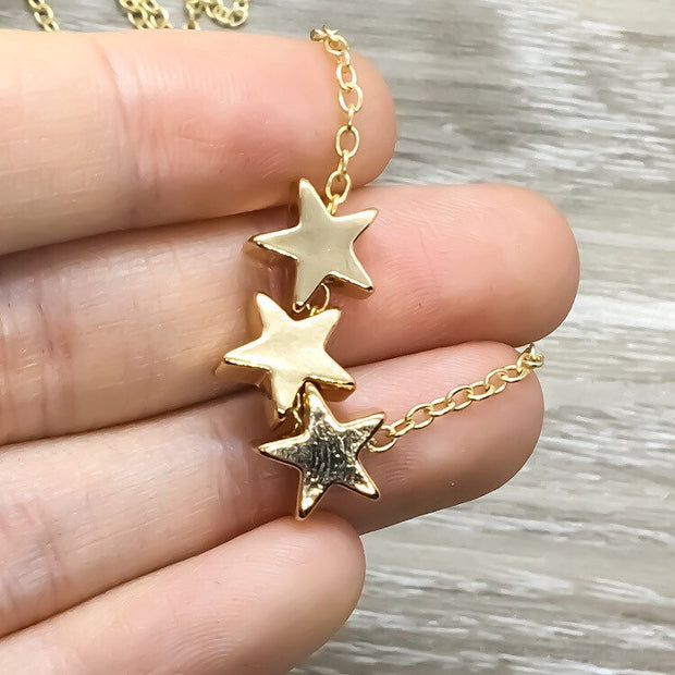 Three Stars Necklace, Reach for the Stars Card, Meaningful Jewelry, Christmas Gift for Teen Daughter, Gift from Mother, Celestial Jewelry