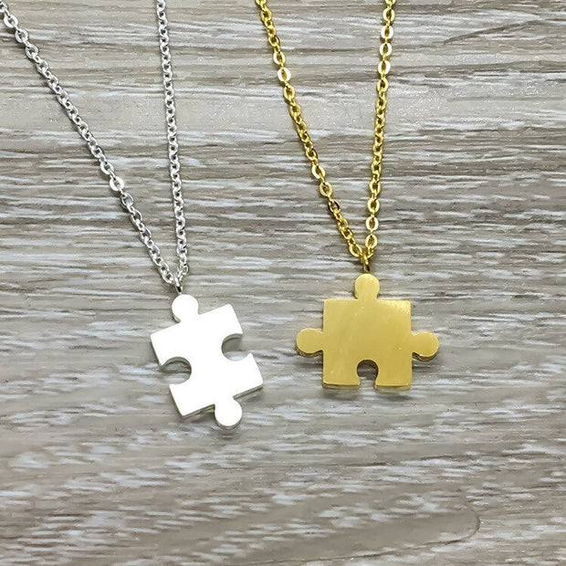 Autism Necklace, Tiny Puzzle Necklace with Card, Dainty Jigsaw Puzzle Jewelry, Autism Awareness Gift, Autism isn't a Disability, Mom Gift