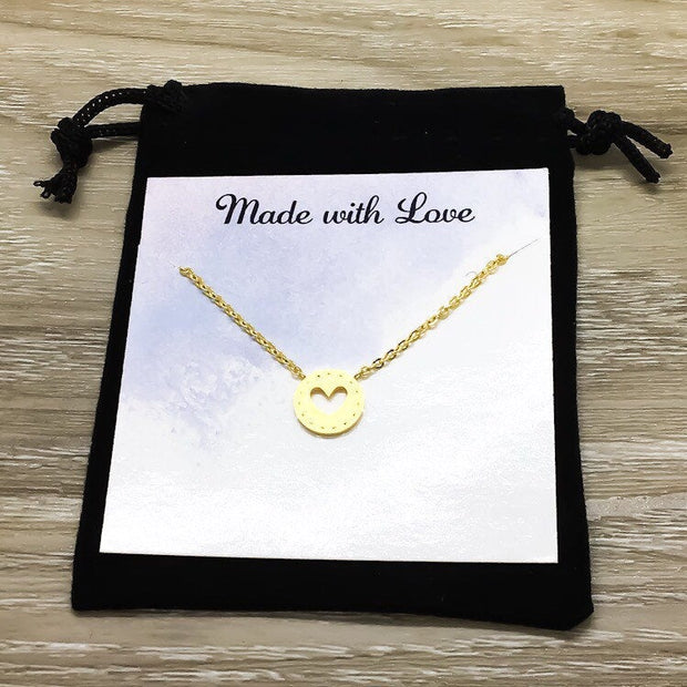 Heart Necklace, Self Love Gift, Affirmation Gift, Friendship Card, Inspirational Jewelry, Encouragement Gift, Care Package, Mental Health