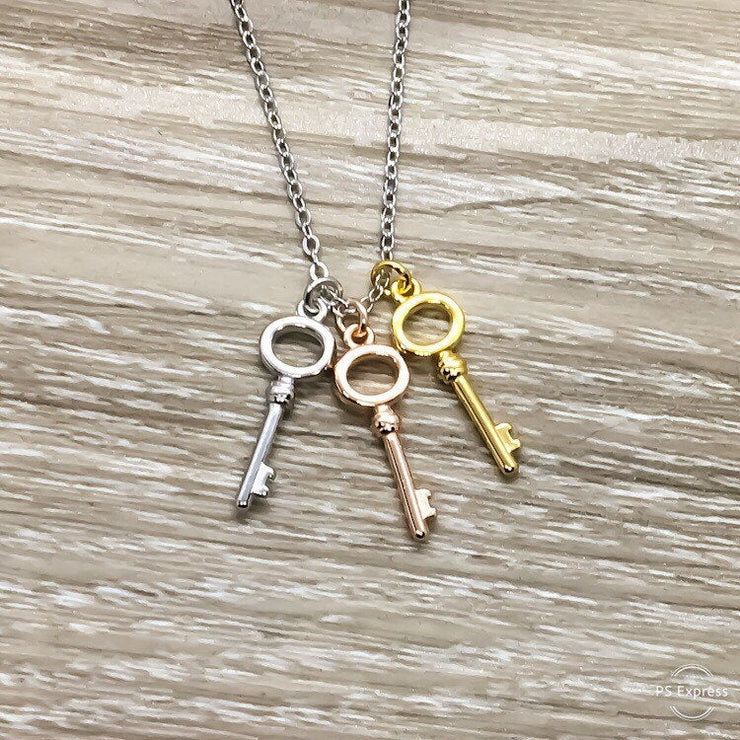 Three Keys Necklace, Minimal Jewelry, Tiny Key Pendant, Friendship Necklace, Best Friends Gift, Simple Reminder, Gift for Daughter, Modern