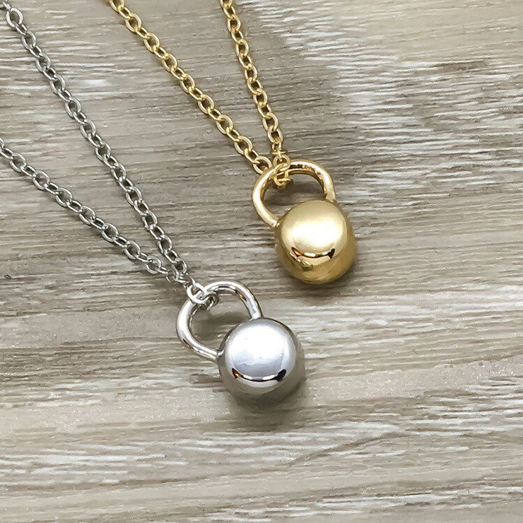 Swole Sisters Gift, Kettlebell Necklace Set for 2, Fitness Jewelry, Tiny Kettlebell Pendant, Swole Mates Gift, Weightlifting Gift