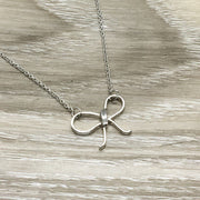 Silver Bow Necklace, Best Friend Gift, Friendship Knot Necklace, Classy Jewelry, Gift for Bestie, Feminine Necklace, Simple Necklace on Card
