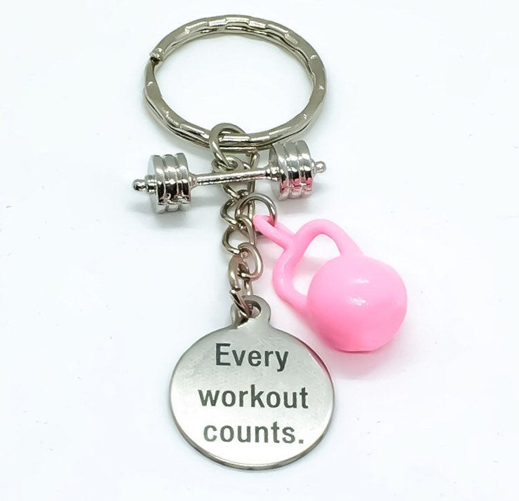 Every Workout Counts, Kettlebell, Barbell, Fitness Keychain