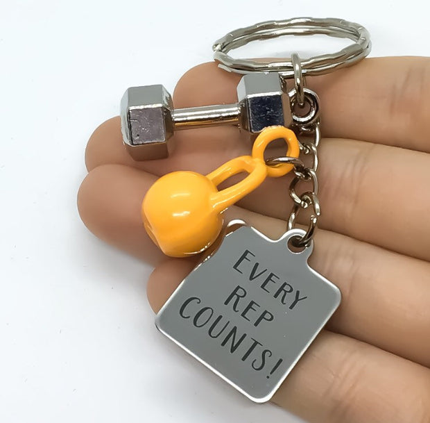 Every Rep Counts, Kettlebell Keychain, Fitness Exercise Gift, Weightloss Gift, Personal Trainer Key Ring, Gym Accessory, Bodybuilding Charm