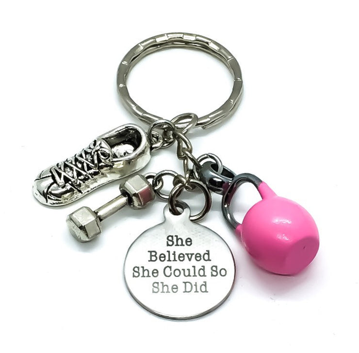 She Believed She Could, Kettlebell, Running Shoe, Dumbbell, Fitness Keychain