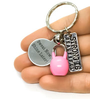 Fitness Keychain, Kettlebell, Sweat Now Shine Later, Strong is Beautiful