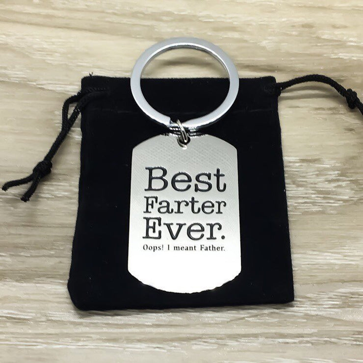 Father's Day Gift, Best Farter Ever Keychain, Funny Gift for Dad from Son, Father Keychain, Daddy Gift for Him