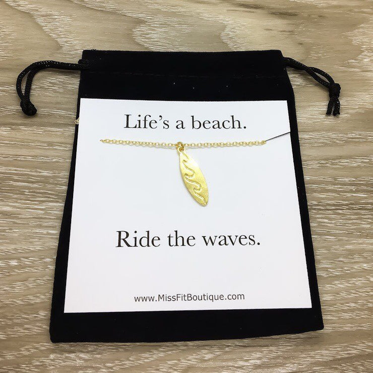 Life's a Beach Card, Surfboard Necklace, Beach Lover Necklace, Unique Gift for Surfer, Minimalist Surfing Necklace, Summer Sports Jewelry