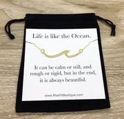 Wave Necklace, Life is Like the Ocean Quote, Beach Wedding, Beach Lover Gift, Gift for Swimmers, Minimalist Ocean Pendant, Summer Necklace