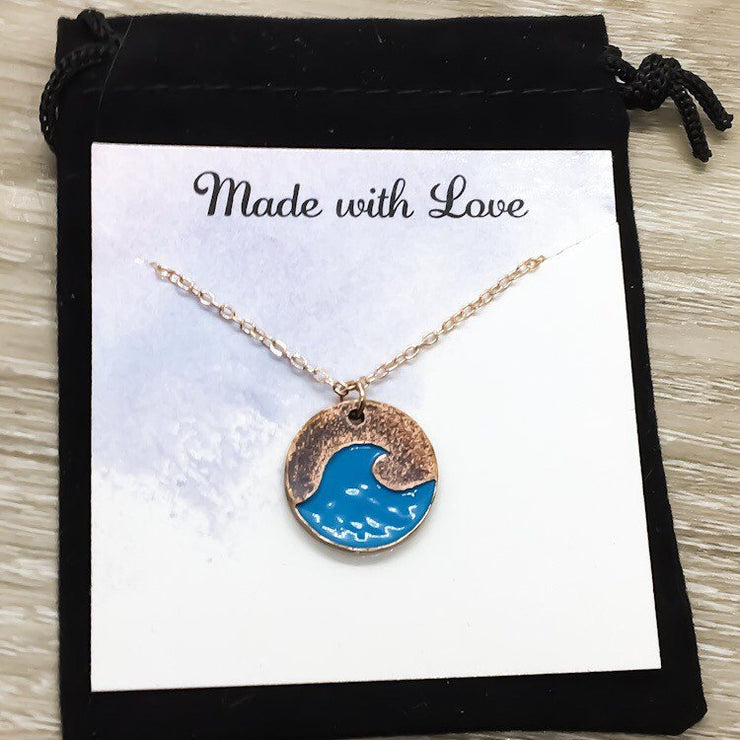 Be a Mermaid Card, Blue Water Wave Necklace, Beach Lover Necklace, Tropical Gift, Minimalist Ocean Necklace, Summer Jewelry
