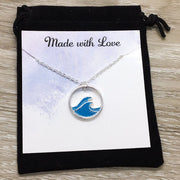 Little Ripples Make Big Waves Card, Silver Wave Necklace, Motivational Gift, Beach Lover Necklace, Gift for Mom, Minimal Water Necklace