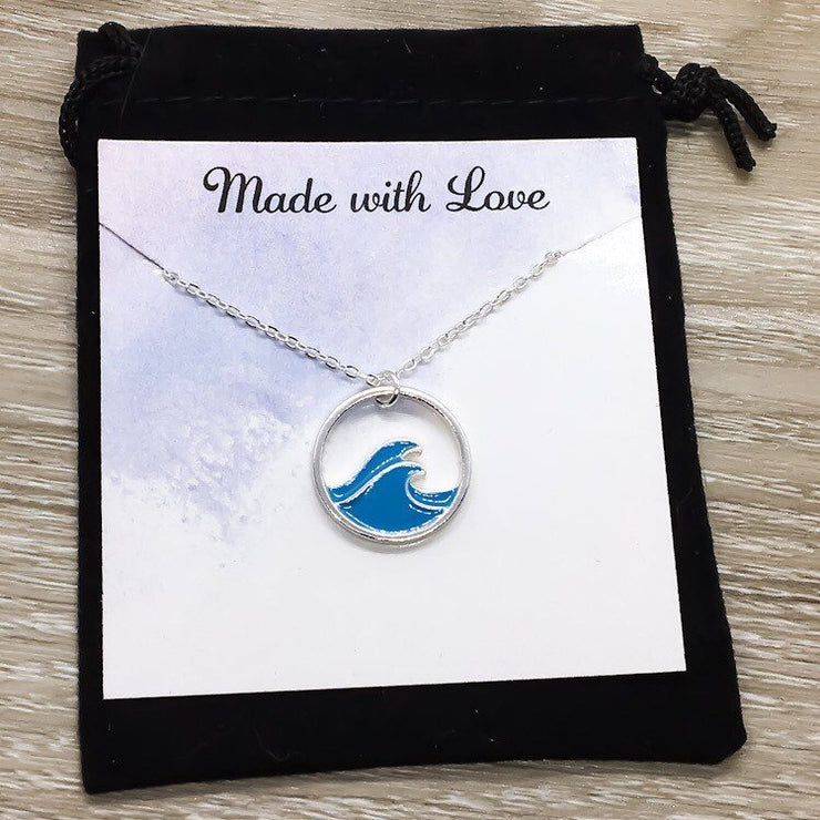 Blue Wave Necklace, Dream Deeper than the Ocean Card, Inspirational Gift, Beach Lover Necklace, Tropical Gift, Minimal Water Necklace