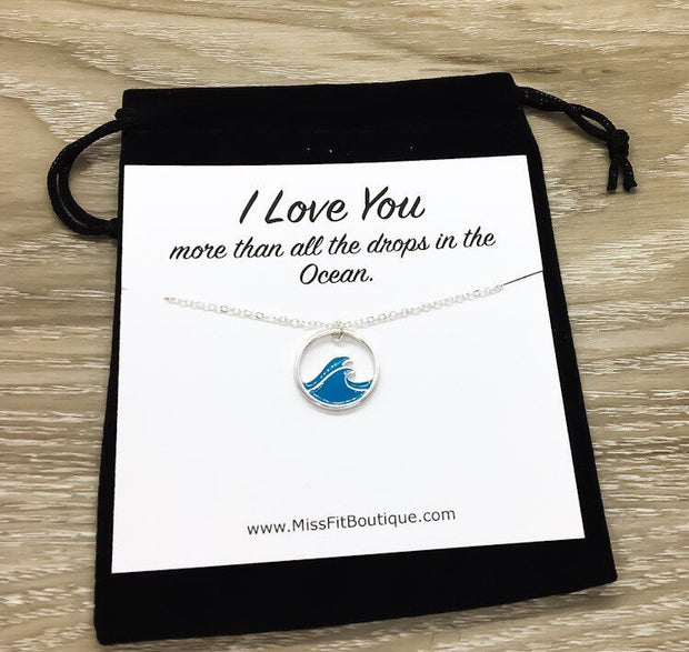 Blue Wave Necklace, I Love You More Than Card, Girlfriend Gift, Friendship Necklace, Tropical Gift, Minimal Water Necklace, Gift for Her