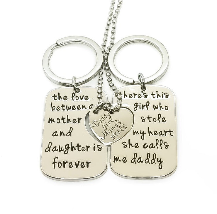 3pcs. Keychain Pendant Necklace Set, Daddy's Girl, Mama's World, Mother Daughter Gift, Father Keychain, Father's Day Gift, Graduation Gift
