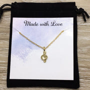 Life is Better With Music, Tiny Treble Clef Music Note Necklace with Card, Music Jewelry, Music Gift, Birthday Gift, Music Teacher Gift