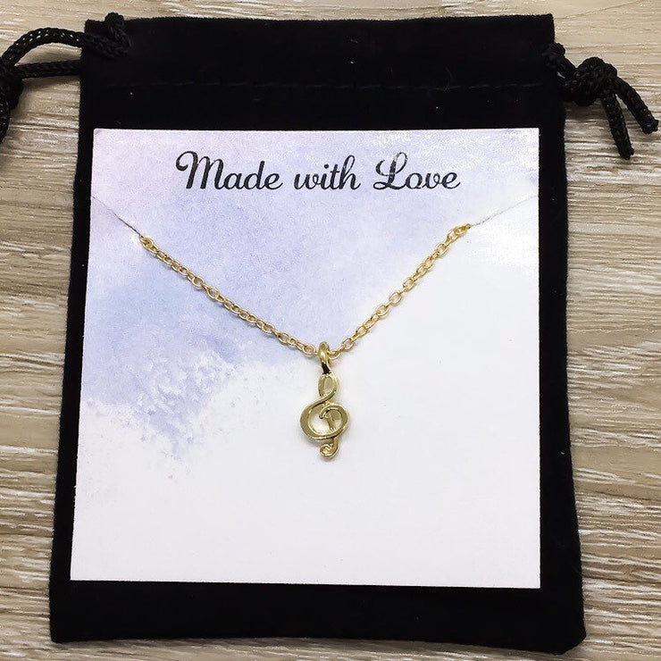 Life is a Song Quote, Tiny Treble Clef Necklace, Music Note Pendant, Musical Jewelry, Music Gift, Birthday Gift, Music Teacher Gift,