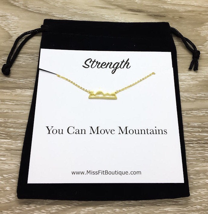 Strength Gift, Mountain Necklace, Dainty Rose Gold Jewelry, Uplifting Gift, Encouragement Card, Friendship Necklace, Graduation Gifts