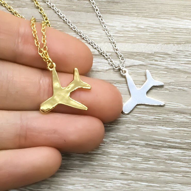 Safe Travels Gift, Airplane Necklace, Gift for Traveler, Going Away Card, Travel Gift, New Journey Gift, Bon Voyage, Graduation Gift for Her