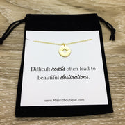 Compass Necklace, Gift for Graduate, Difficult Roads Beautiful Destinations Quote, Motivational Gift, Gift for Best Friend, Travel Gift
