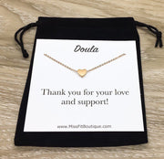 Gift for Doula, Personalized Doula Gift, Doula Necklace, Tiny Heart Pendant, Thank You Gift, New Baby Jewelry, Birth Coach Gift, Doula Card