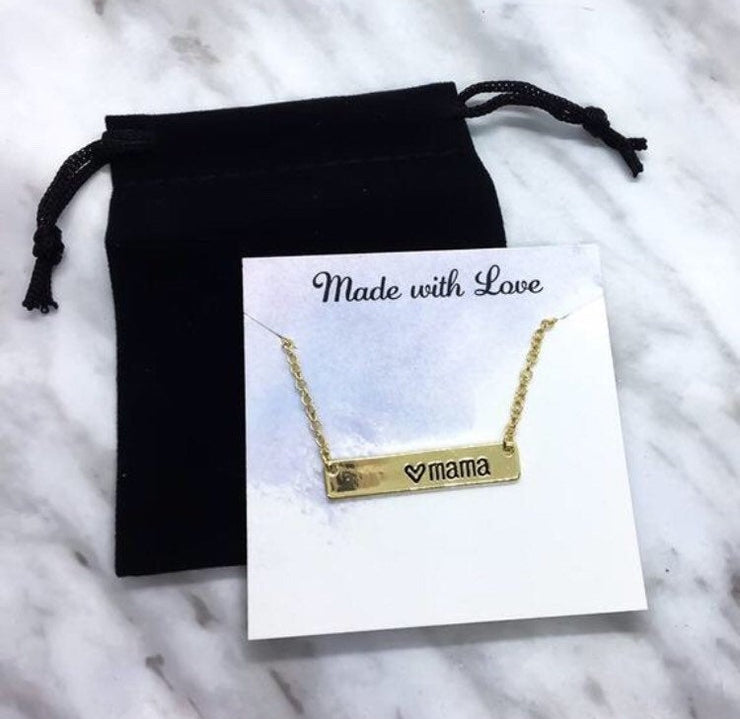 Mama Necklace, Horizontal Bar Engraved Pendant, Gift from Daughter, Gift for Mother, Dainty Necklace, Gift for New Mom, Gift for Mother