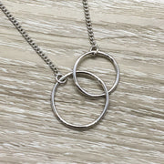 Stuck Together Card, Two Circles, Friendship Necklace, Interlocked Double Circles, Circular Pendant, Every Day Necklace, Summer Jewelry