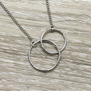 Mother & Son Gift, Two Circles, Friendship Necklace, Interlocked Double Circles, Circular Pendant, Gift from Son, Every Day Necklace, Summer
