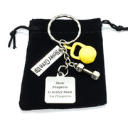 Slow Progress is Better, Kettlebell, Dumbbell, Fitness Motivation Keychain
