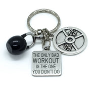 Fitness Keychain, The Only Bad Workout, Kettlebell, 45lbs Weight Plate