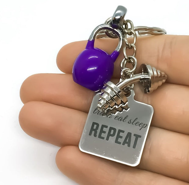 Train Eat Sleep Repeat, Weightlifting Keychain, Kettlebell Charm, Weightloss Motivation, Weight Plate Charm, Coach, Personal Trainer Gift