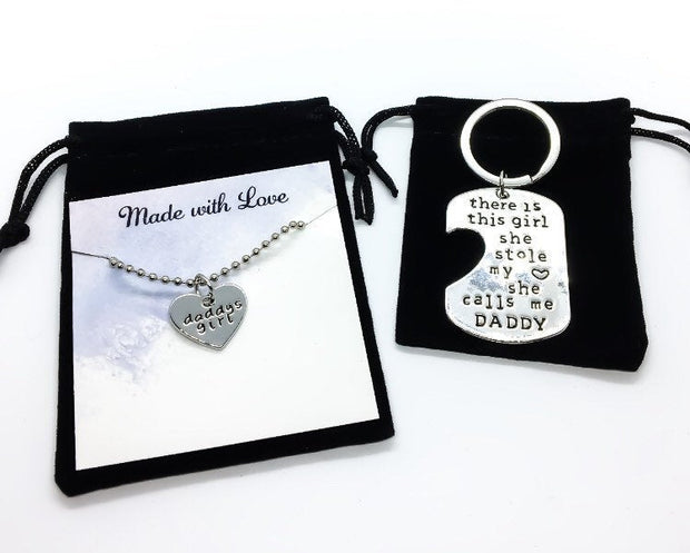 2pcs. Keychain Pendant Necklace Set, Daddy's Girl, Father Daughter Gift, There's This Girl Who Stole My Heart, Father's Day Keychain
