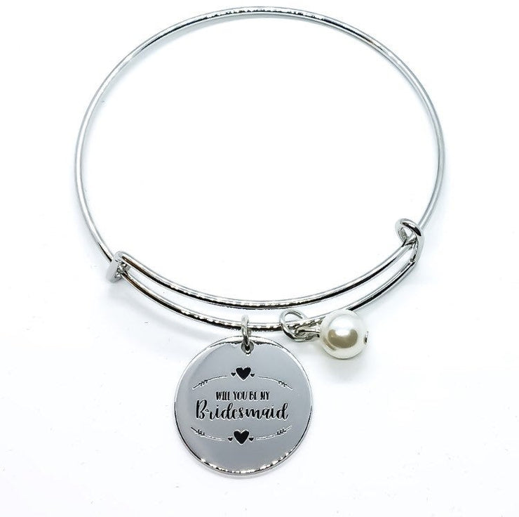 Bridesmaid Proposal Bangle Bracelet, Will You Be My Bridesmaid Gift, Bridal Party Jewelry, Charm Bracelet, Minimalist Jewelry