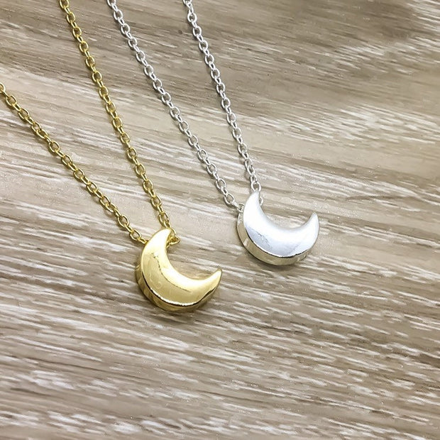 Lunar Eclipse Necklace, Delicate Celestial Jewelry, Simple Moon Necklace, Silver Crescent Moon Pendant, Astrology Jewelry, Astronomy Gift