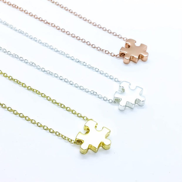 Puzzle Necklace, Rose Gold Jigsaw Puzzle Jewelry, Autism Awareness Necklace, Gift for Mom, Geometric Jewelry, Simple Every Day Jewelry