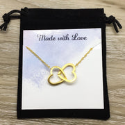 Stuck Together Necklace with Custom Card, Interlocking Hearts Necklace, Friendship Necklace, Mother Daughter Gift, 2 Hearts Necklace, Sister