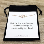 Sisters Quote, Connected by the Heart, Double Hearts Necklace with Card, Two Interlocking Hearts Necklace, Sister Birthday Gift