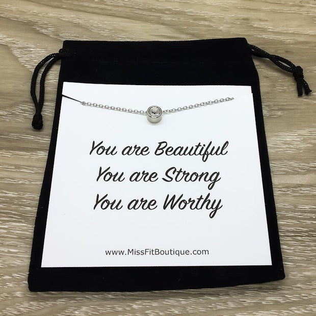 Simple Reminder Necklace with Card, Tiny Round Crystal Necklace Silver, Gift for Daughter, You Are Beautiful Gift, Meaningful Gift, Strength