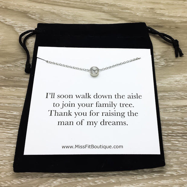 Mother of the Groom Necklace with Card, Tiny Round Crystal Necklace Silver, Gift for Mother in Law, Thank You For Raising Gift, Dainty