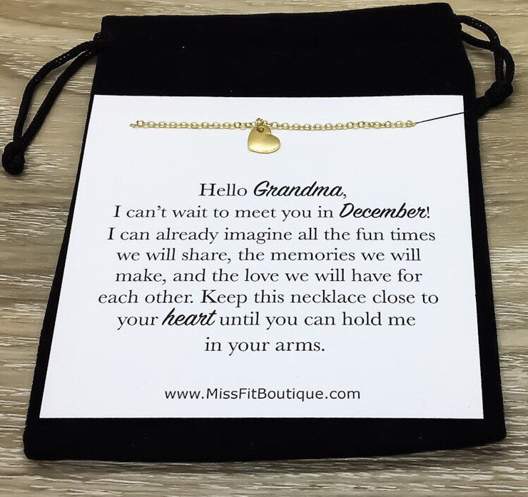 Hello Grandma Card, Tiny Heart Necklace, Gift for New Grandma, Pregnancy Announcement Gift, Grandmother Necklace, New Baby Reveal Gift