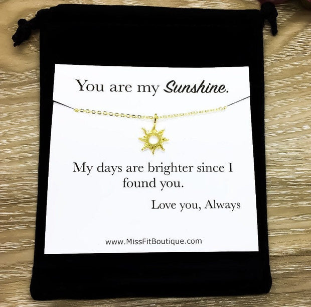You Are My Sunshine Necklace, Rose Gold Sun Necklace, Minimalist Sunshine Gift, Dainty Necklace, Gifts for Her, Birthday, Bestfriends Gifts