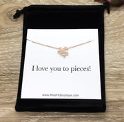 I Love You To Pieces Card, Puzzle Necklace Rose Gold, Romantic Jewelry, Gift for Girlfriend, Friend Necklace, Gift for Wife, Daughter Gift