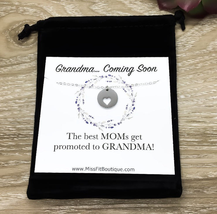 Grandma Coming Soon, Baby Coming Soon Necklace, Pregnancy Announcement Gift, Grandma to Be Gift, Grandmother Gift, Nana Necklace, Mimi Gift