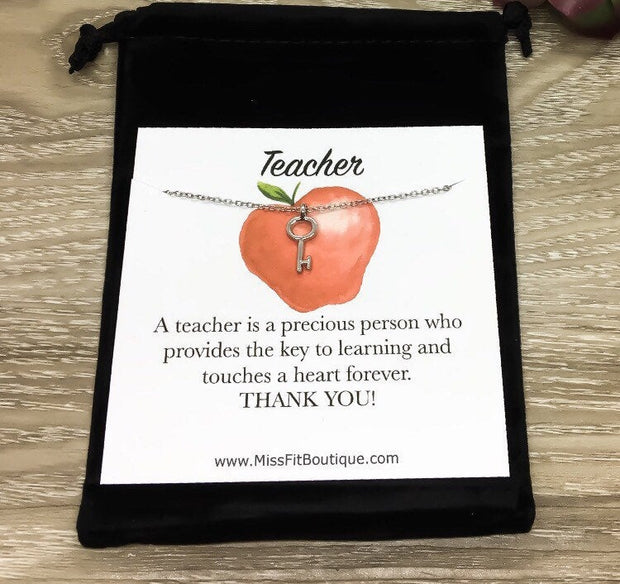 Teacher Appreciation Card, Gold Key Necklace, Key to Learning Gift, Teacher Jewelry, Thank You Gift, Gift for Tecaher, Back to School Gift