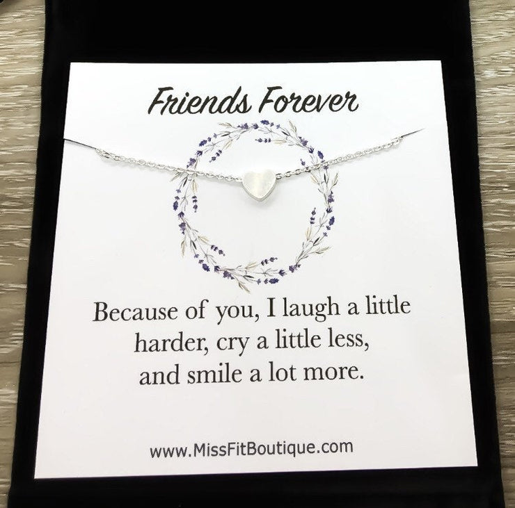 Gift for Women Best Friend, Heart Necklace, Because of You, Quote Card, Friend Necklace, Friendship Birthday Gift, Every Day Necklace