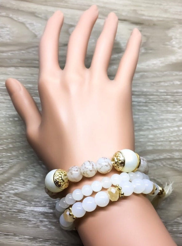 Triple Stack Beaded Bracelets, White Pink Multistrand Bead Bracelet Set of 3, Friendship Bracelets, Birthday Gift, Tassels, Daughter Gifts