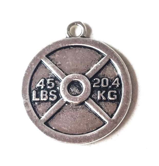 Weight Plate Fitness Charms: 25lbs, 45lbs or 50kg, Lift Heavy, Weightlifting, Charms, Fitness Jewelry, Gift Ideas, Workout, Exercise